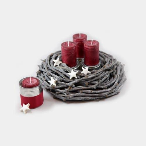 Deko-Set Adventskranz rote Kerzen, Dosen, Sterne