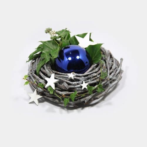 Deko-Set Weihnachtsgesteck blaue Kugel, Sterne, Efeu