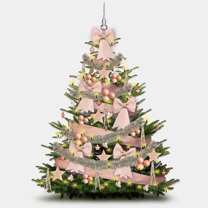 """z.B. Weihnachtsbaum Deko-Set """"Glamour hellrose"""" (42-teilig für Bäume bis 140cm)"""