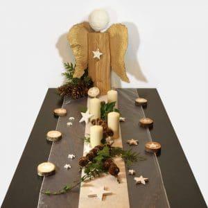 Tischdeko-Set Weihnachten mit Engels-Skulptur als festliche Festtafel