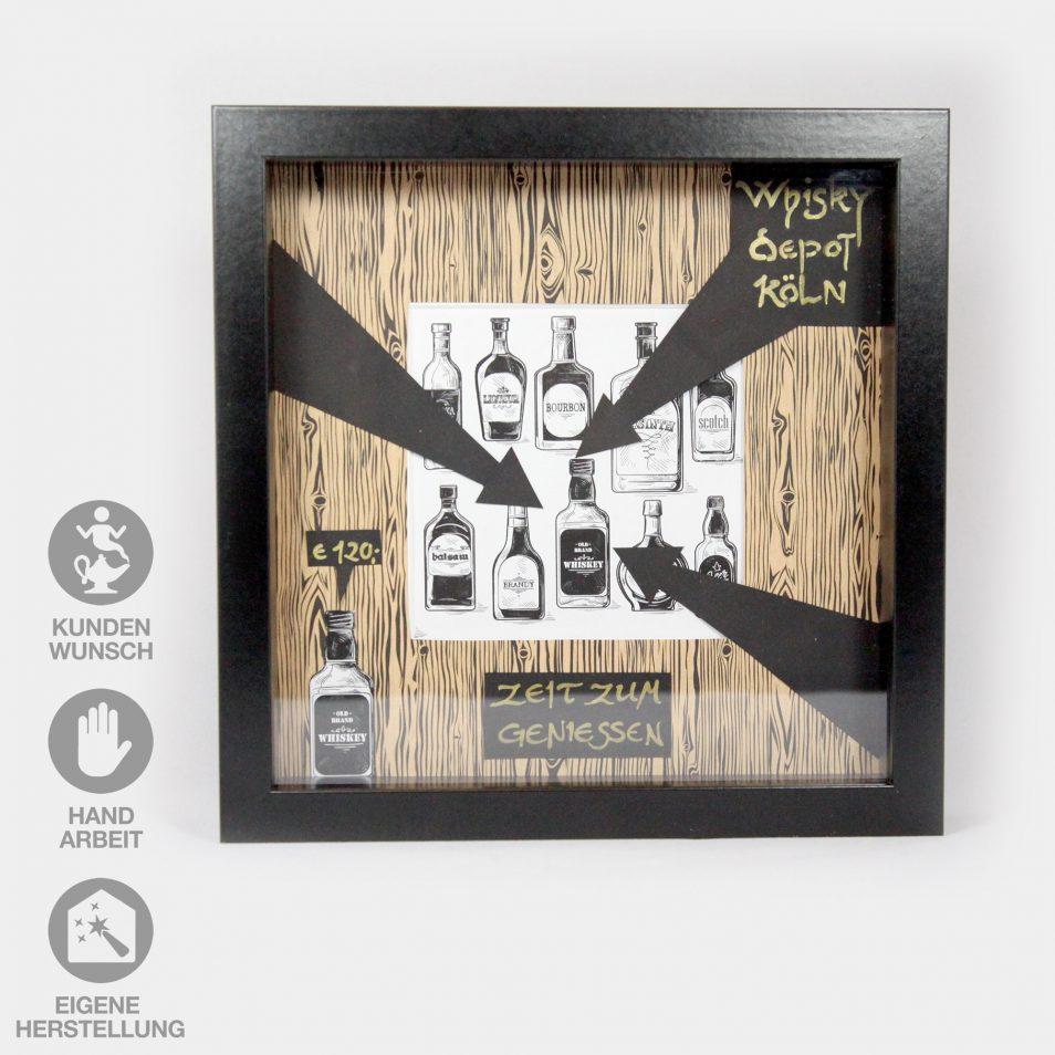 Geburtstags-Gutschein für eine Whisky-Probe. Schwarzer Geschenk-Rahmen mit verschiedenen illustrierten Flaschen auf Holz-Hintergrund. Ort und Wert des Gutscheins wurden ins Motiv mit eingearbeitet